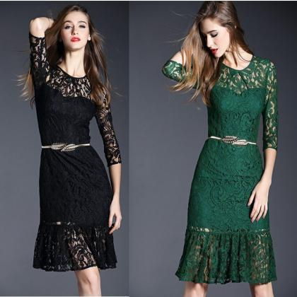 Hot Womens Knee Length 3/4 Sleeve Lace Casual Dress Mermaid Color & Size Select