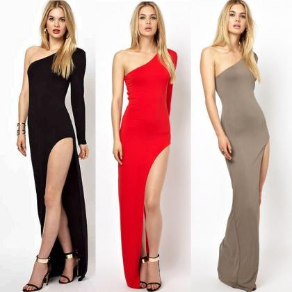 Sexy Women Slim One Shoulder Side S..
