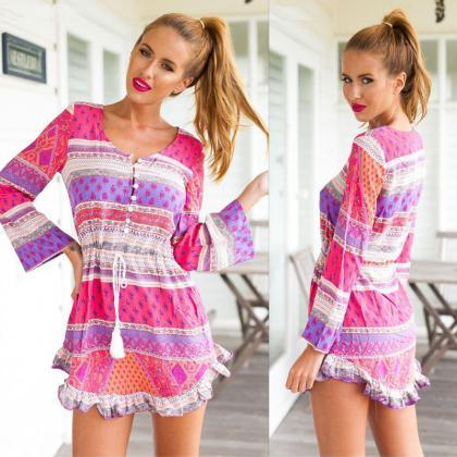 Sexy Women Summer Casual Long Sleeve Evening Party Cocktail Short Mini Dress