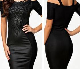 Womens Fashion Sexy Slim Leather Lace Bodycon Party Cocktail Club Evening Dress