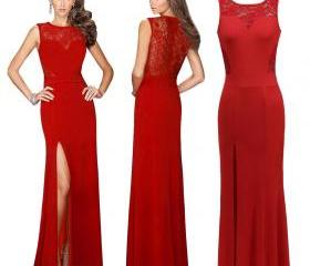 Women's Red Formal Evening Dress Sleeveless Sexy Cocktail Dress Long Ball Gown