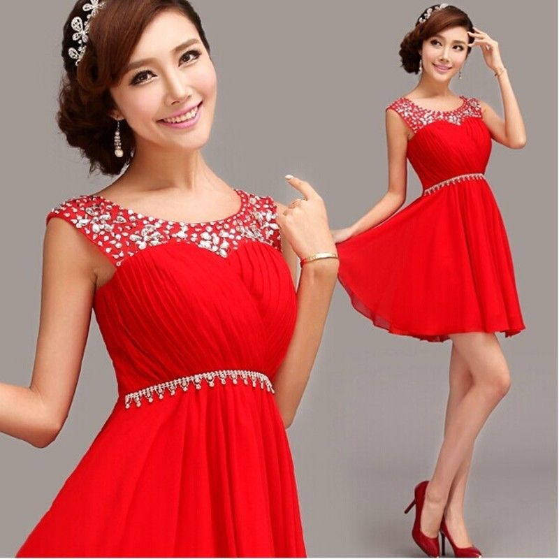 New Short Formal Wedding Prom Party Bridesmaid Evening Ball Gown Dress Red LF214