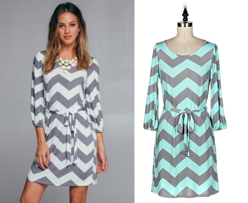Gray And White/Mint Chevron Print Tunic Dress Tie Waist Mid Length ...