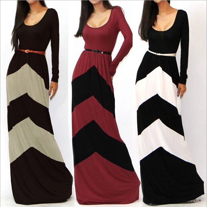 Women's Casual Long Sleeve Striped Evening Party Cocktail Beach Long Maxi Dress