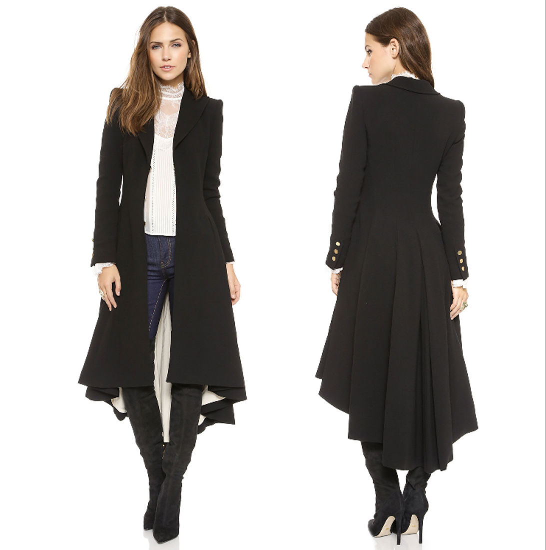 New Womens Ladies Autumn Winter Long Black Windbreaker Trench Coat ...