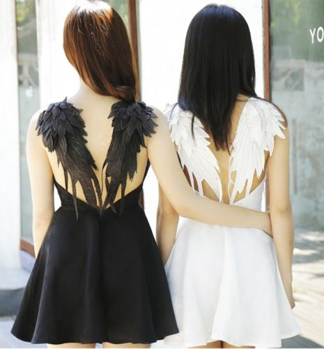 Black dark angel maleficent wings dress lolita gothic swan for Angel wings wedding dress