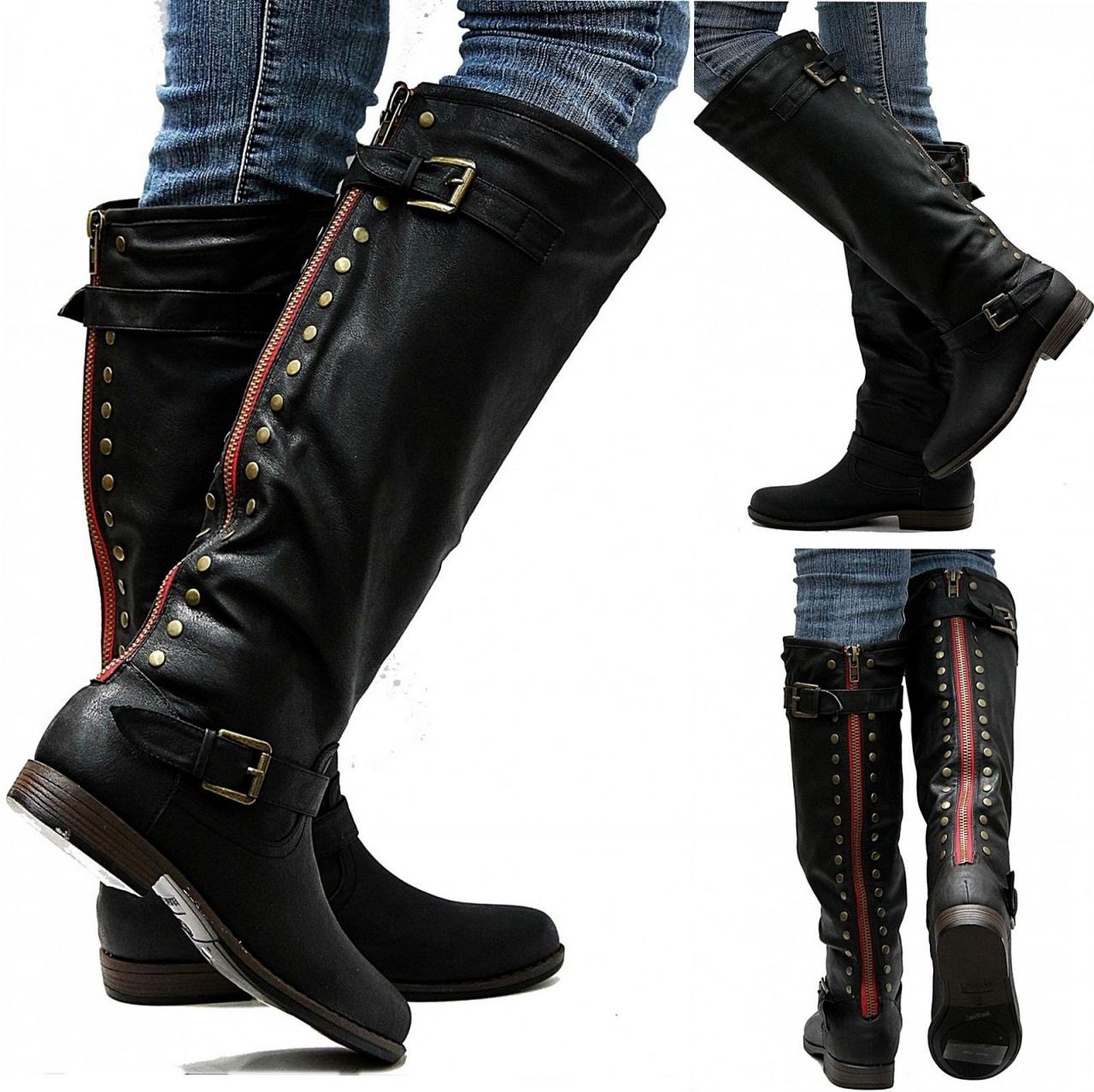 New Womens JM18 Red Zipper Black Studded Riding Knee High Boots on ...