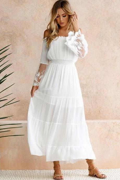 Sexy Women Summer Boho Lace Beach Dress Evening Cocktail Long Maxi Dress
