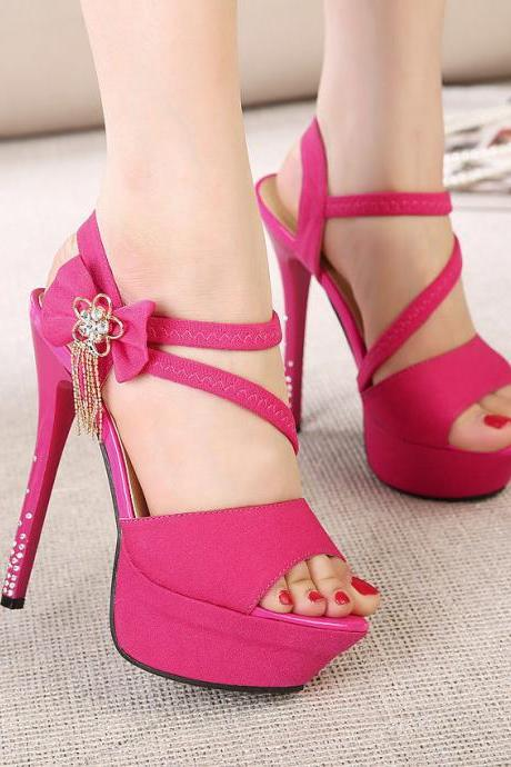 Ladies Women Platform Stiletto High Heels Belt Buckle Sandals Peep Toe Shoes