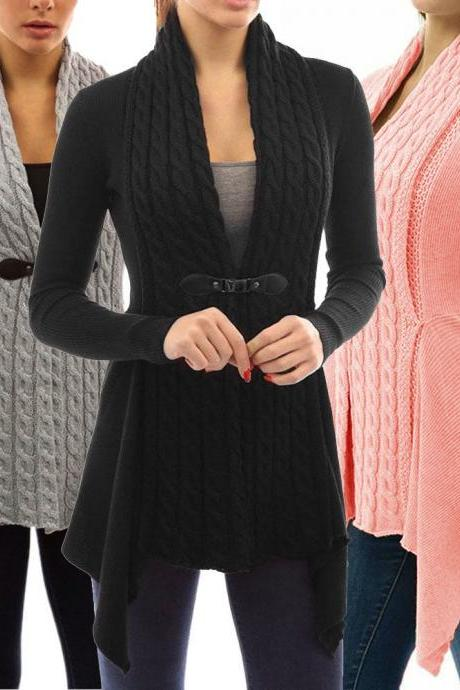 Long Sleeve Knitted Cardigan Loose Sweater Long Jacket Coat Outwear Tops