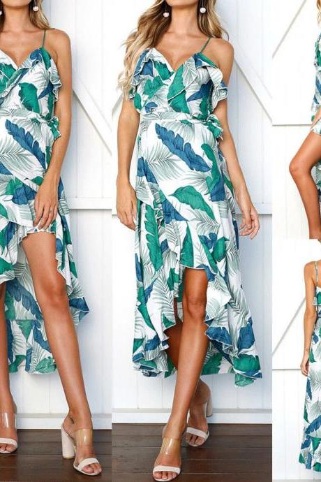 Spaghetti Strap V-Neck Floral Print Beach High-Low Maxi Dress with Frills