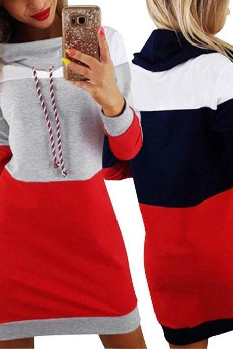 Winter Stitching Dress Long Sleeve Tops Hoodie Jumper Sport Pocket Sweater