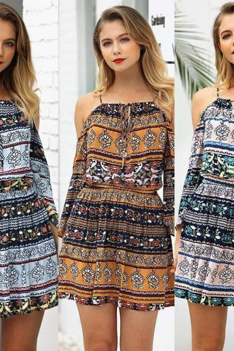 Womens Boho Holiday Floral Strap Dress Summer Beach Party Cocktail Sundress