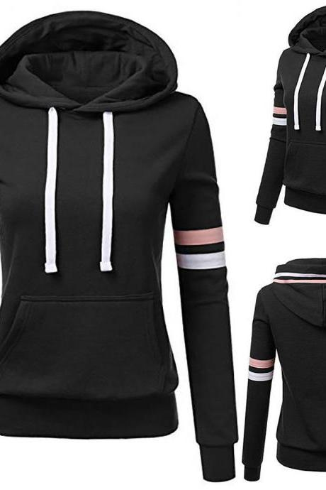 Long Sleeve Women Striped Hooded Pullover Coat Loose Hoodie Jumper Sweatshirt