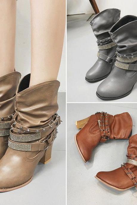 Buckle Rivet Block Heels Boots Biker Ankle Combat Military Booties Shoes