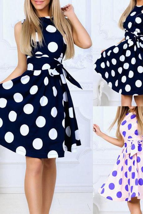 Elegant Polka Dot Swing Vintage Housewife Rockabilly Evening Party Dress