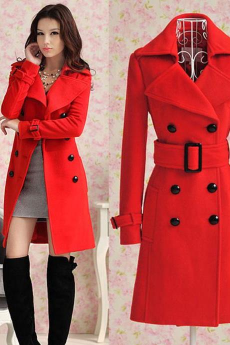 Women Cashmere Slim Winter Warm Coat Long Wool Jacket Outwear With Belt