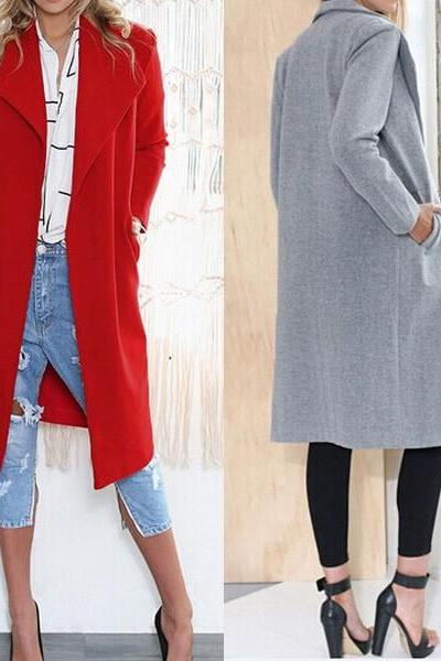 Lady Women Lapel Cashmere Jacket Winter Long Parka Wool Slim Coat Trench Outwear