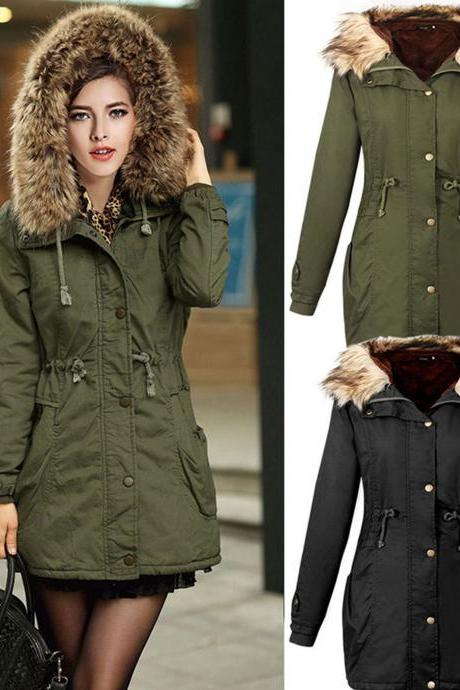 Winter Warm Overcoat Long Hooded Jacket Coat Thicken Fur Outwear