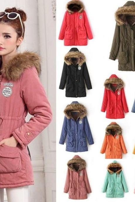 Winter Coat Parka Warm Thicken Fur Collar Overcoat Long Jacket Outwear