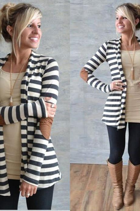 Women Long Sleeve Striped Cardigan Long Coat Jacket Outwear Casual Loose Sweater