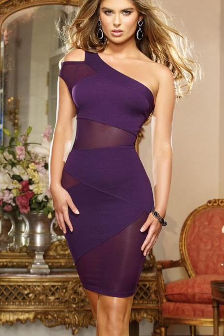 Purple Women Sexy Sleeveless Bodycon Evening Cocktail Party Short Mini Dress
