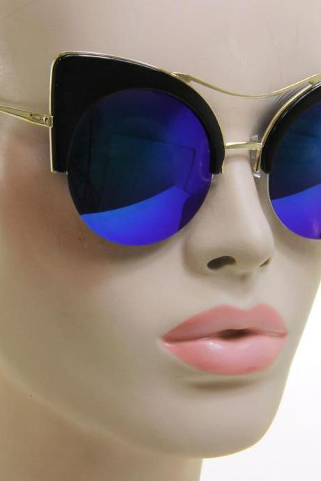 Women Designer Vintage Fashion Cat Eye Black Gold Green Mirror Lens Sunglasses