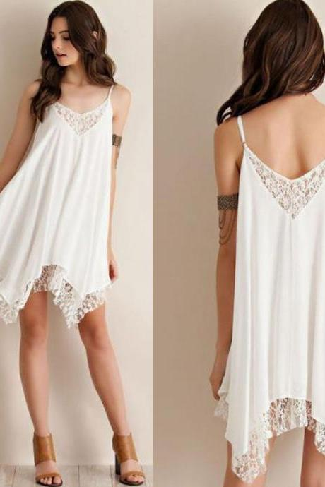 Sexy Women Dress Sleeveless Lace Cocktail Party Mini Dress Summer Beach Sundress