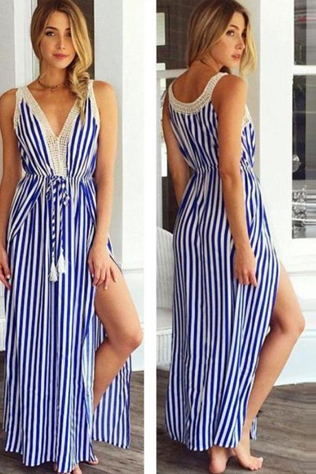 Sexy Women's Striped Summer Lace Long Maxi Dress Evening Party Beach Sundress