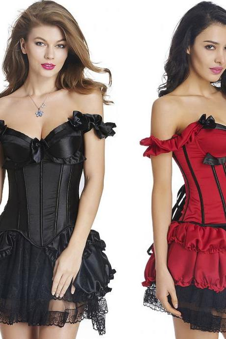 Gothic Lady Corset Dress Overbust Bustier Bridal Medieval Leisure Outdoor Dress