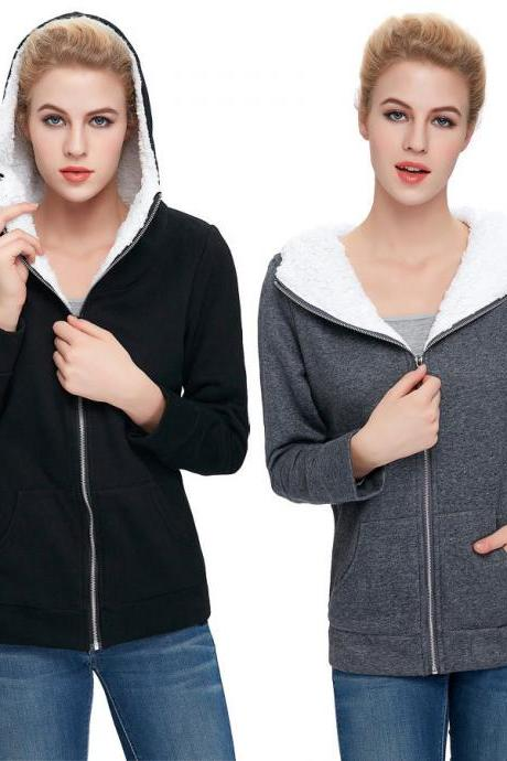 Woman's Fleece Lined Zip Front Hooded Sweatshirt Coat Jacket