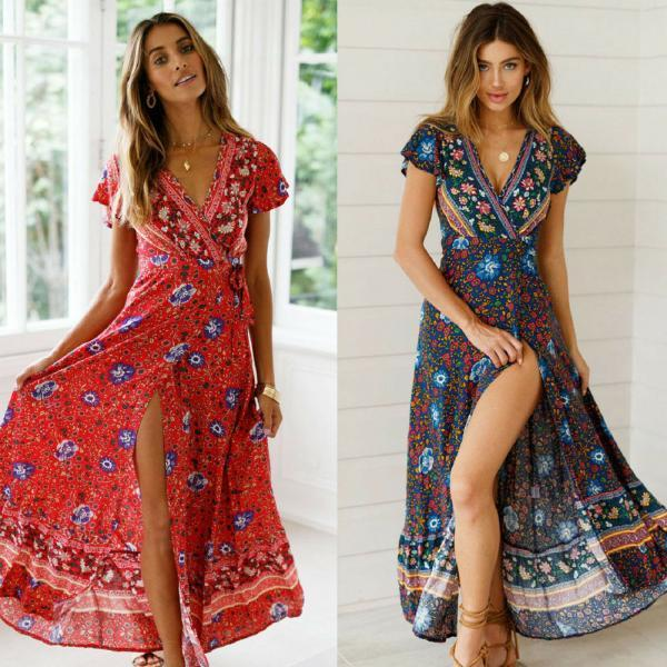Women Floral Maxi Dress Boho Evening Party Summer Beach Casual Long Sundress