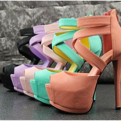 High Stiletto Heels Sexy Womens Nightclub Wedding Platform Cross Strap Peep Toe