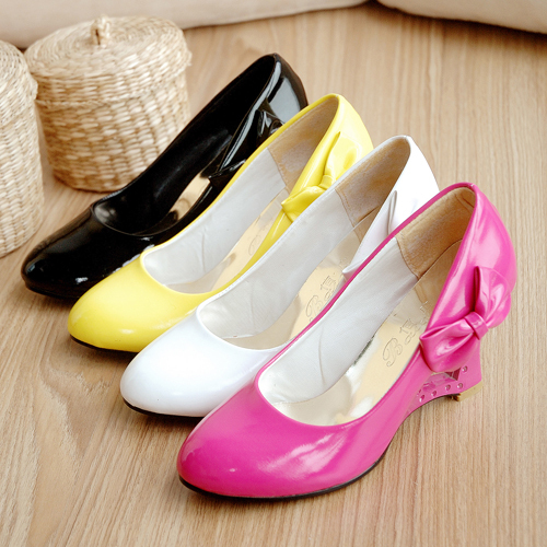 Women's Fashion PU Preppy Pumps Chic Wedge Heels Cute Bow Shoes AU Plus