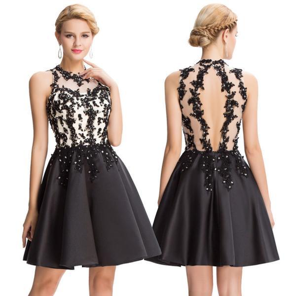New Short Black Applique Party Evening Prom Cocktail Dress
