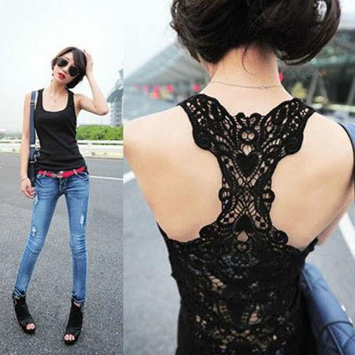 Lady Sexy Lace Flower Tank Top Sexy Cami Sleeveless Casual Cotton T-Shirt