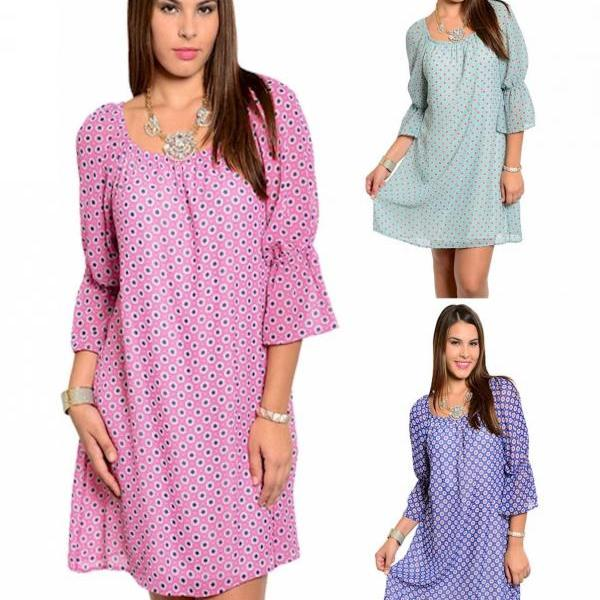 New Womens PINK/BLUE/AQUA Polka Dot SHIFT Mini DRESS Plus Size XL/1X/2X/3X