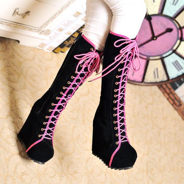Gladiators Womens Goth Lace Up Roman High Platform Wedge Heels Knee High Boots
