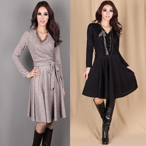2015 Spring Autumn Winter Women Cross V-Neck Long Sleeved Sexy Slim Casual Dress