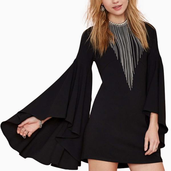 Casual Flared Bell Sleeve Short Dress