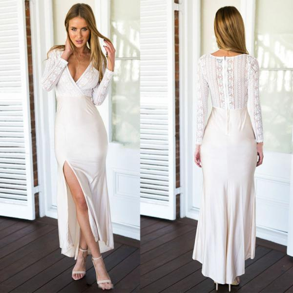 New Sexy Women Ladies Lace Long Sleeve Dress Long Maxi BOHO Evening Party Dress