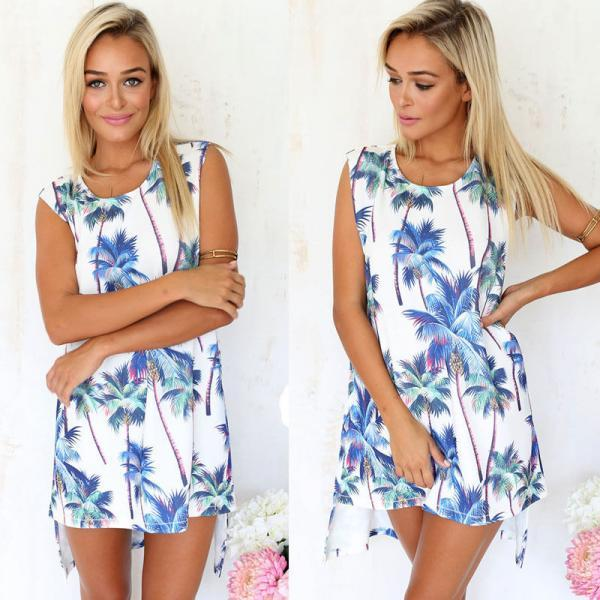 New Summer Sexy Women Sleeveless Casual Party Dress Evening Beach Mini Dress