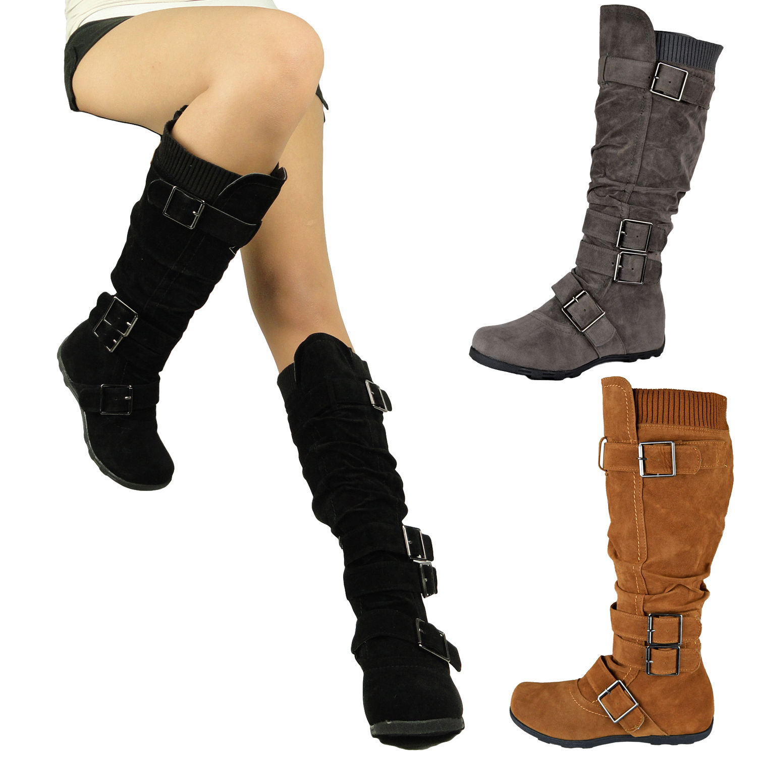 Women Flat Knee High Boots Adjustable Straps Suede Comfort Winter ...